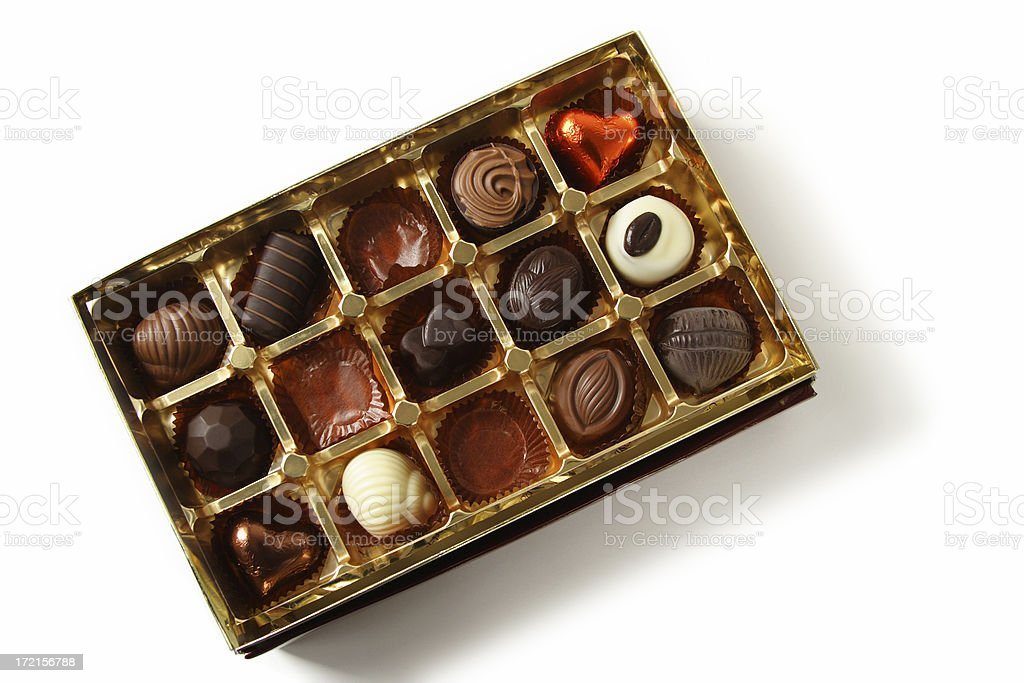 Open Chocolate Box on white royalty-free stock photo