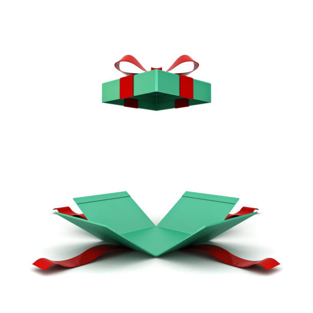 Open christmas gift box or green present box with red ribbon and bow isolated on white background with shadow 3D rendering Open christmas gift box or green present box with red ribbon and bow isolated on white background with shadow 3D rendering gift box stock pictures, royalty-free photos & images