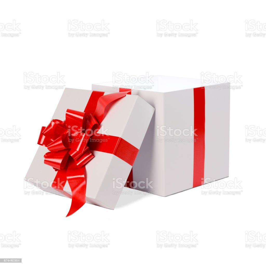 Open Christmas Present Gift White Box With Red Bow And Ribbon ...