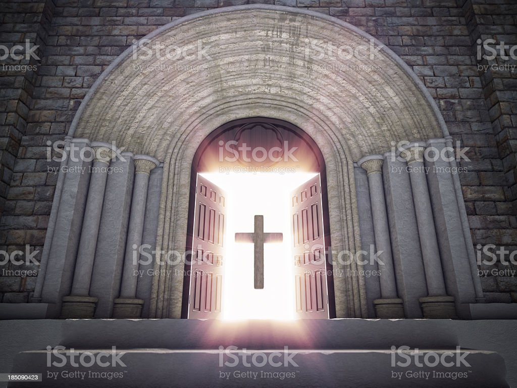 Open Church Doors with Cross royalty-free stock photo