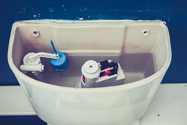 Open cistern of toilet stock photo