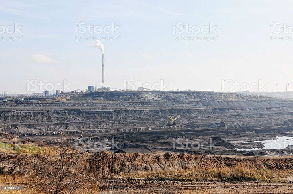 open Coal mine with  air pollution royalty-free stock photo