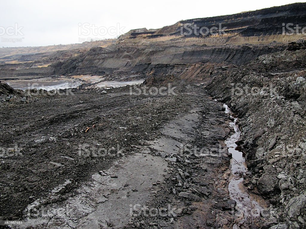 open Coal strip mine with slurry consists of liquid waste stock photo