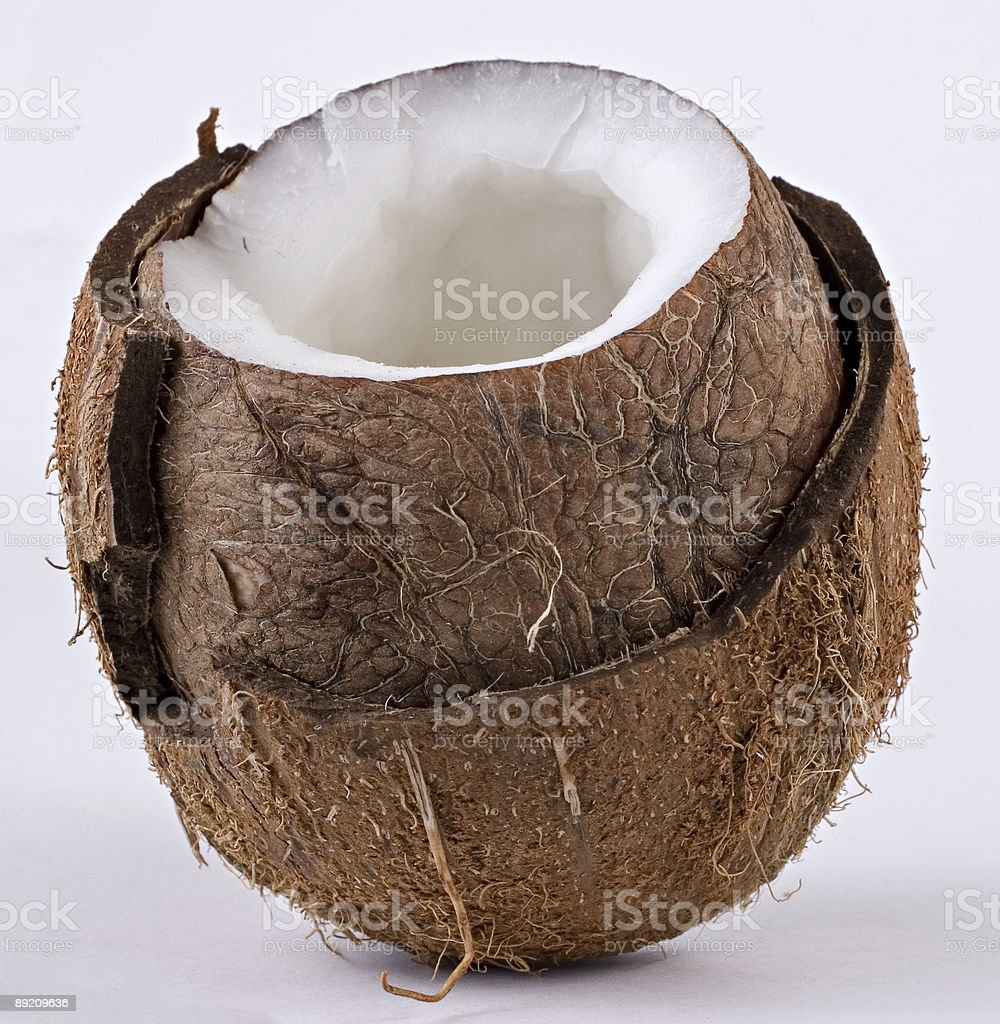 Open coconut in detail royalty-free stock photo