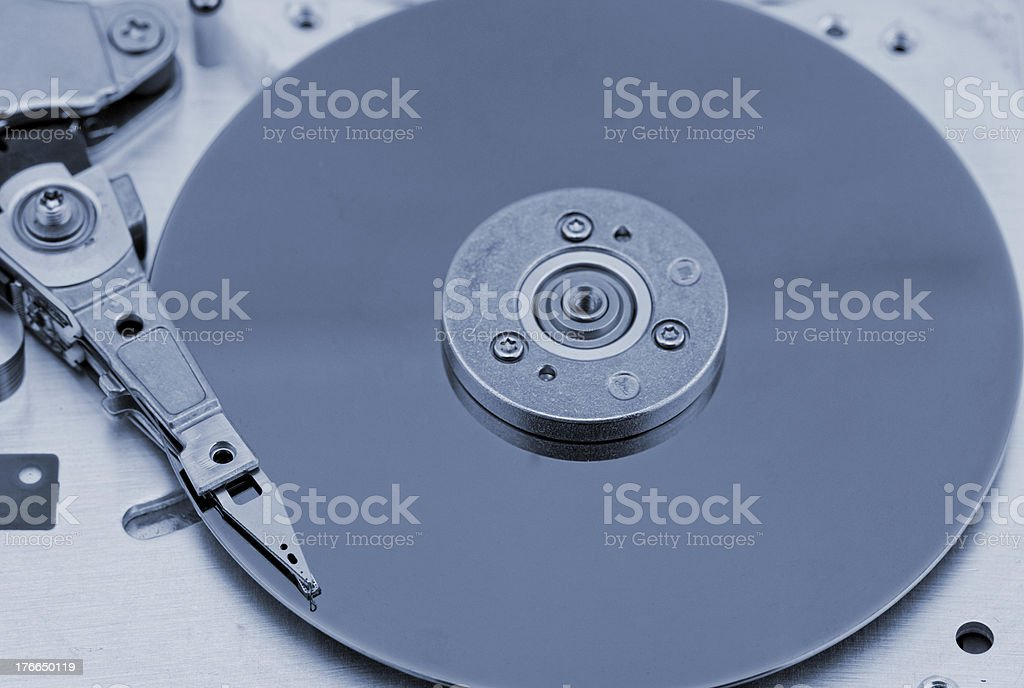 Open computer hard drive on white background royalty-free stock photo