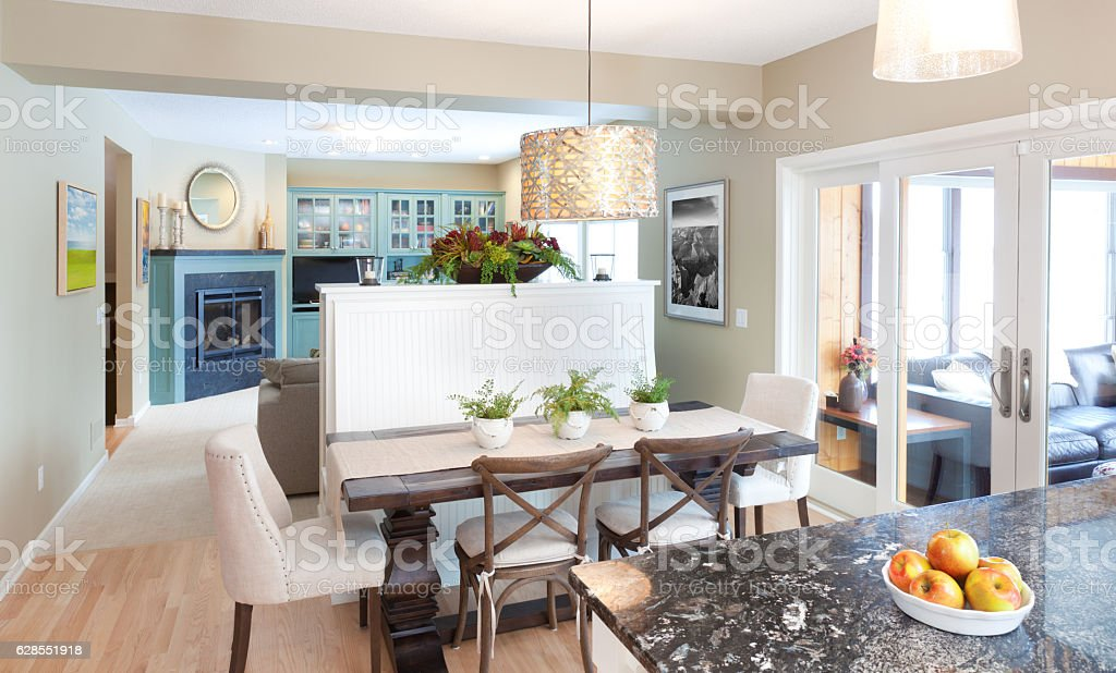 Open Concept Family Den Kitchen Dining Room in Contemporary Home stock photo