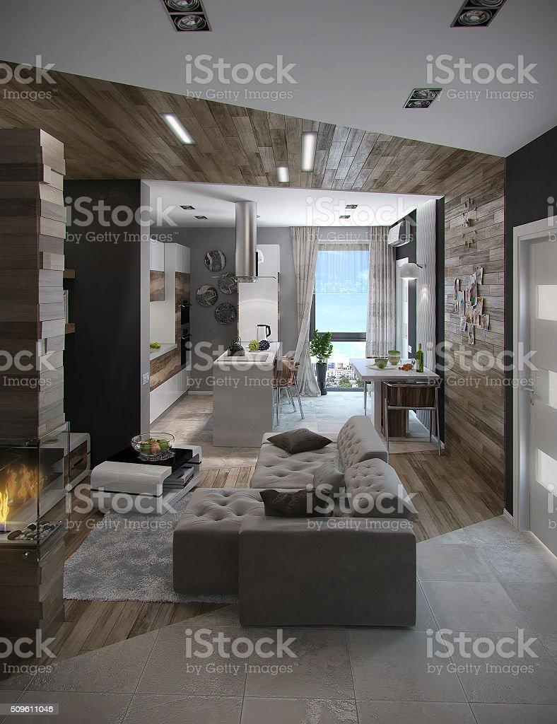 Offen Gestaltete Küche Und Wohnzimmer, 3D Render Lizenzfreies Stock Foto