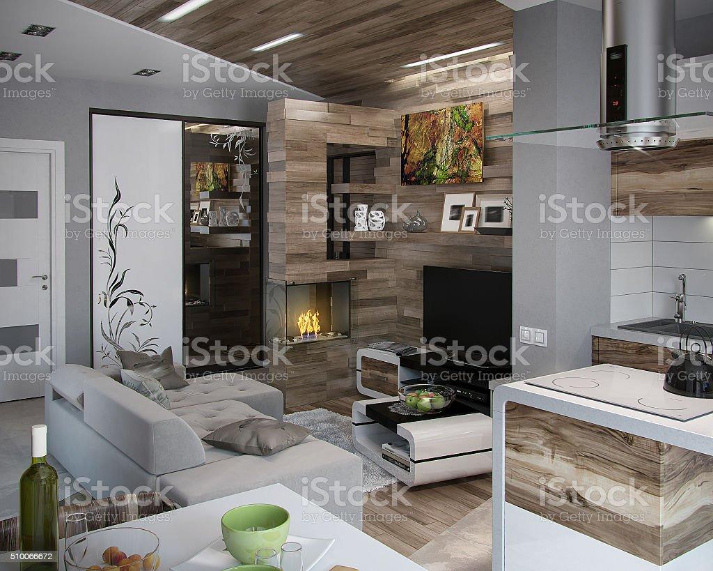 Offen gestaltete Küche und Wohnzimmer, 3D Render – Foto
