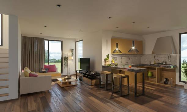 Offenes Konzept Küche und Lounge die Treppe – Foto