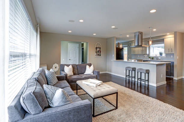 Open concept living room with lots of light. stock photo