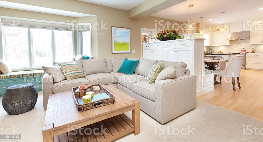 Open Concept Modern Family Room Den and Kitchen Design stock photo