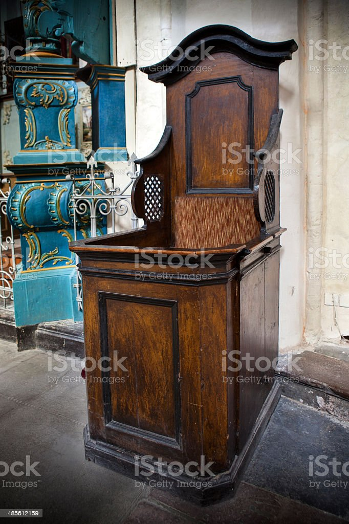 Open confessional booth royalty-free stock photo