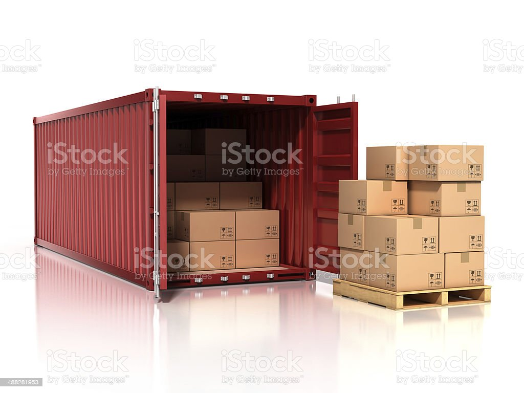 open container with cardboard boxes stock photo