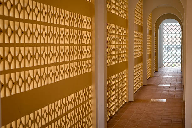 Open Corridor An open air corridor in Phnom Penh apostrophe stock pictures, royalty-free photos & images