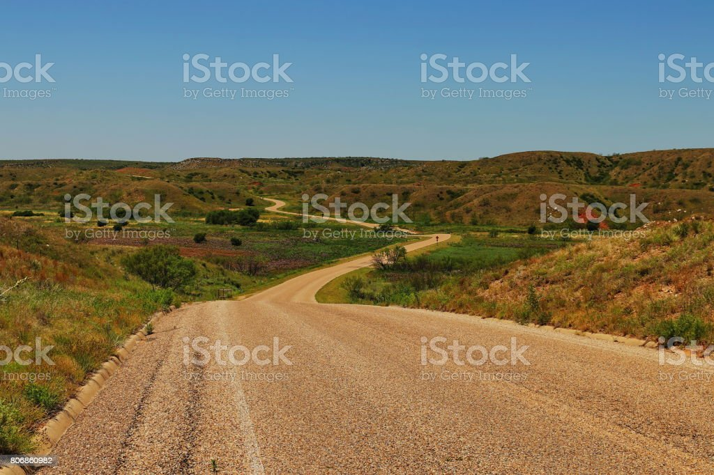 Open Country Road in Texas stock photo