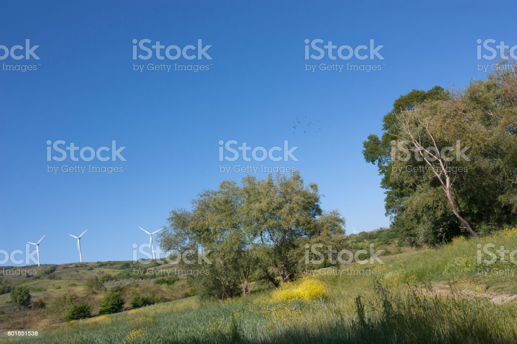 Open countryside and in the background some wind turbines stock photo