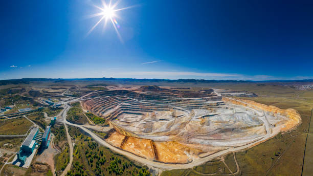 Open cut copper mine in Mongolia, Erdenetiin Ovoo Mine - Aerial view Copper mine in Mongolia, aerial view, Erdenet independent mongolia stock pictures, royalty-free photos & images