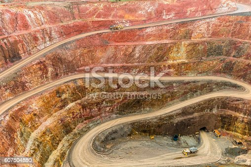 Open Cut Gold mine, with Haul truck driving up road, located in Cobar NSW AustraliaOpen Cut Gold mine, located in Cobar NSW Australia