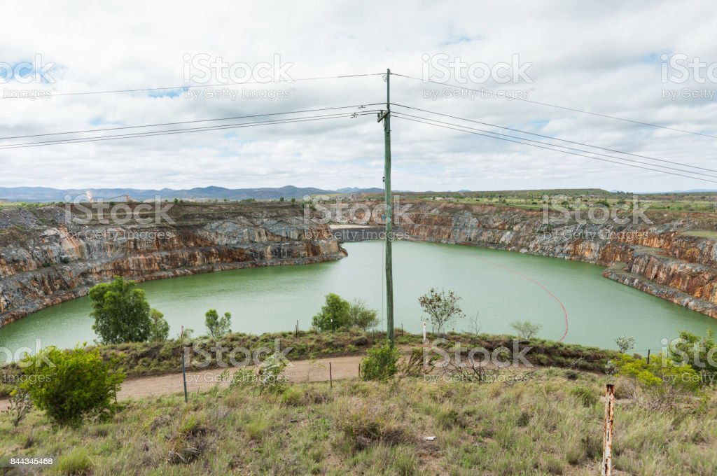 Open cut gold mine, Ravenswood, Queensland, Australia stock photo