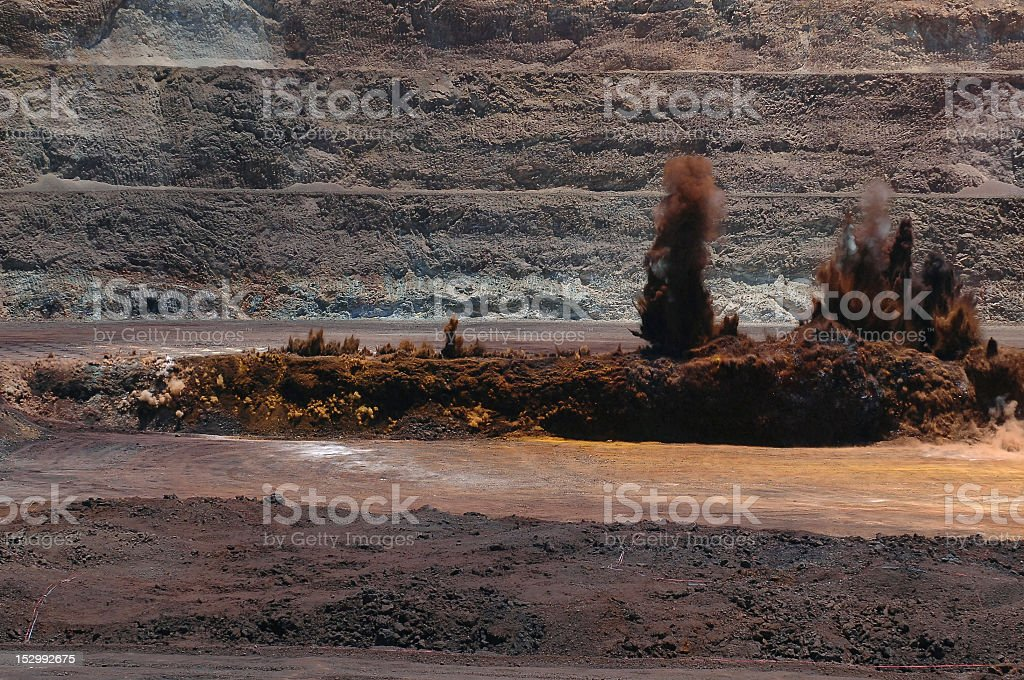 Open cut mine explosion royalty-free stock photo