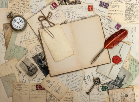 open diary book, old accessories and postcards