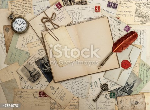 istock open diary book, old accessories and postcards 478719701