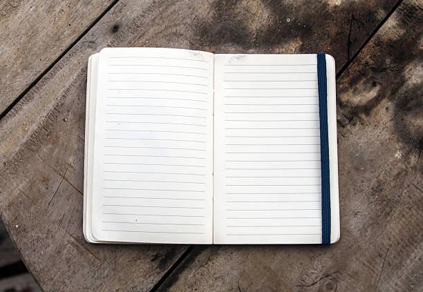 Open diary book stock photo