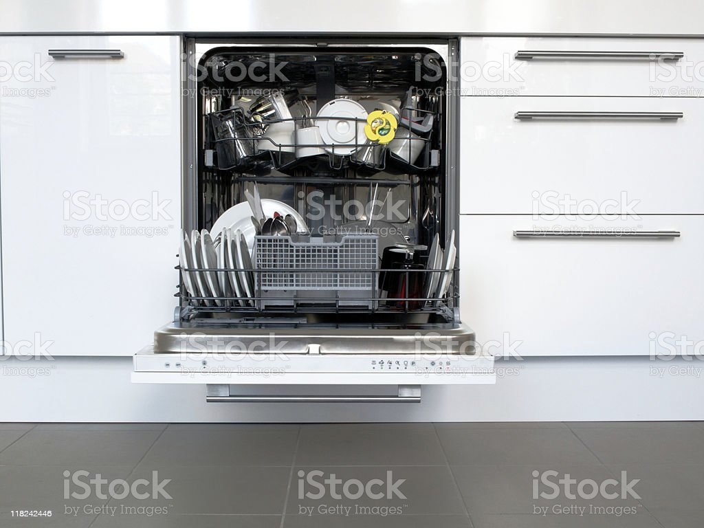Open Dishwasher and Kitchen Drawers Cabinets royalty-free stock photo