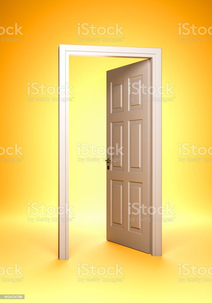 Open Door and Door Jamb stock photo