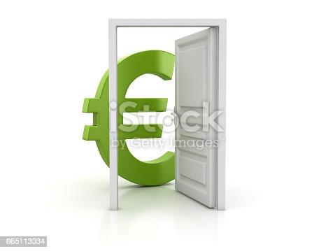 istock Open Door and Green Euro Sign 665113034