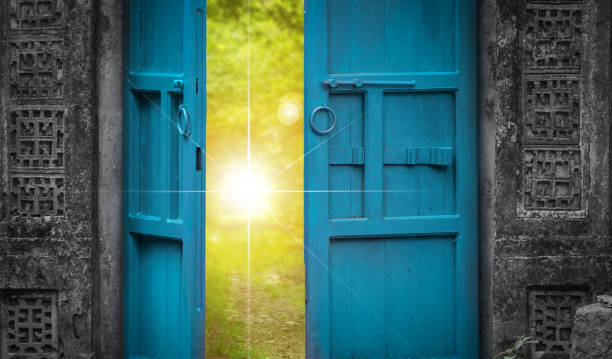 open door and heaven light - open gate stock photos and pictures