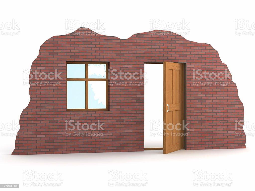 Open door and window in wall royalty-free stock photo