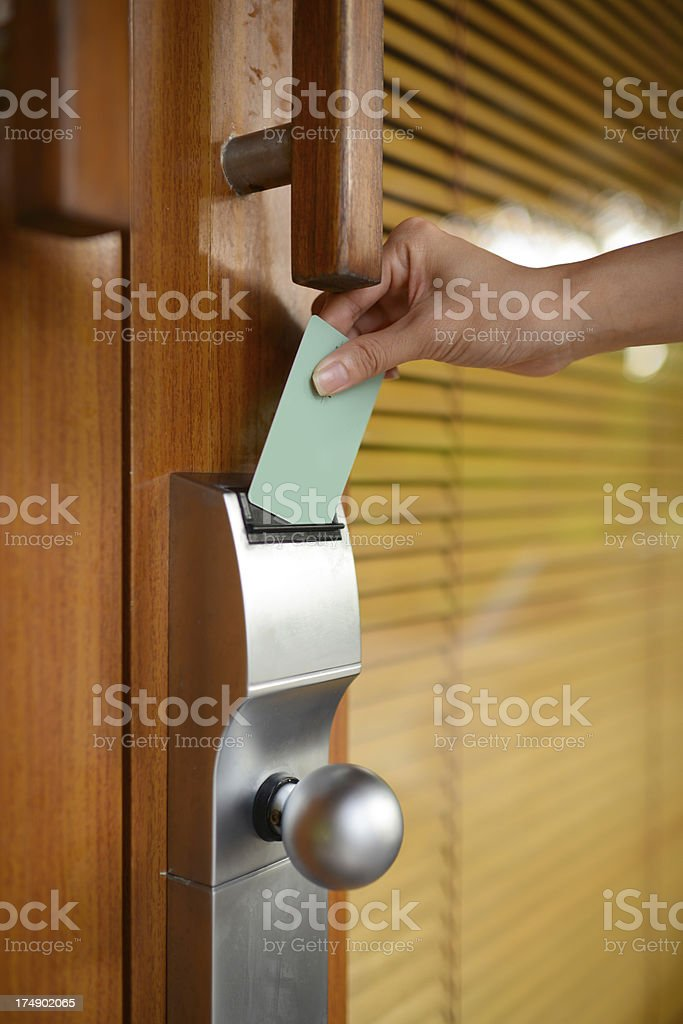 Open Door By Electronic Key stock photo