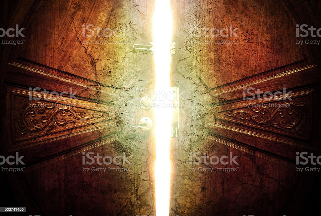 open door light crack vintage stock photo