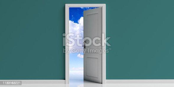 Opened door passage to blue sky, heaven. Open door, blue sky with clouds view out of the door opening, copy space. 3d illustration