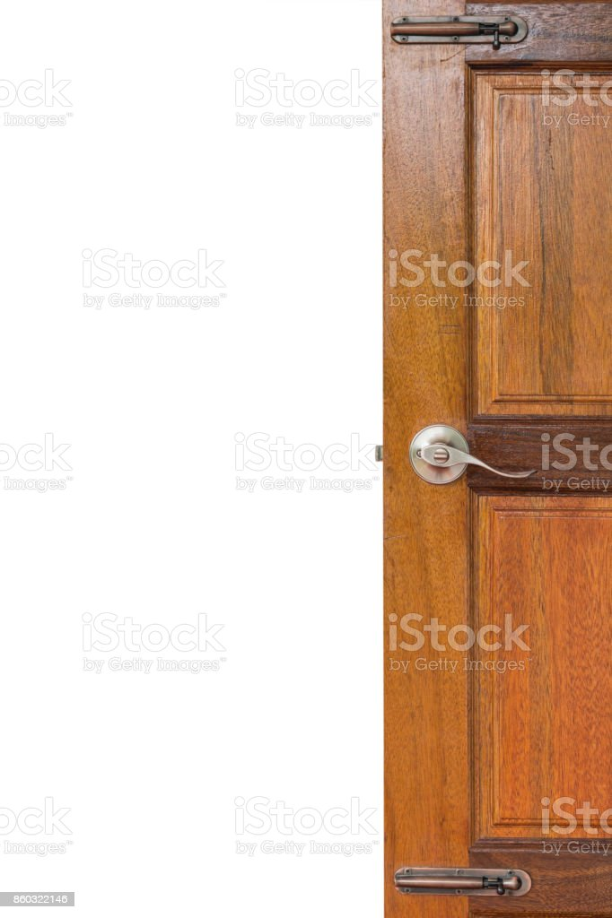 open door on wall background with clipping path stock photo