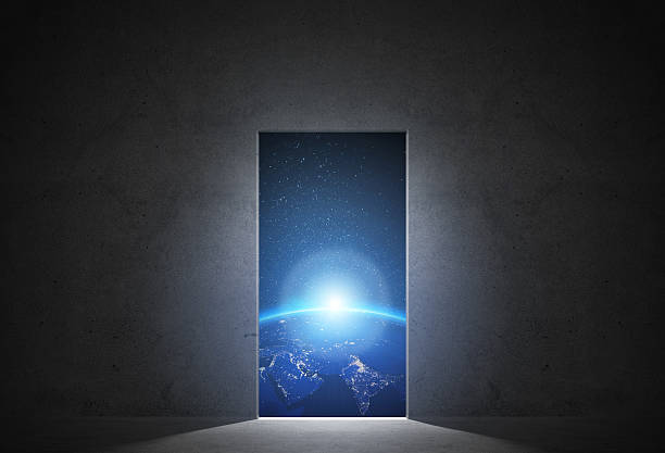 open door to scape - earth from space bildbanksfoton och bilder