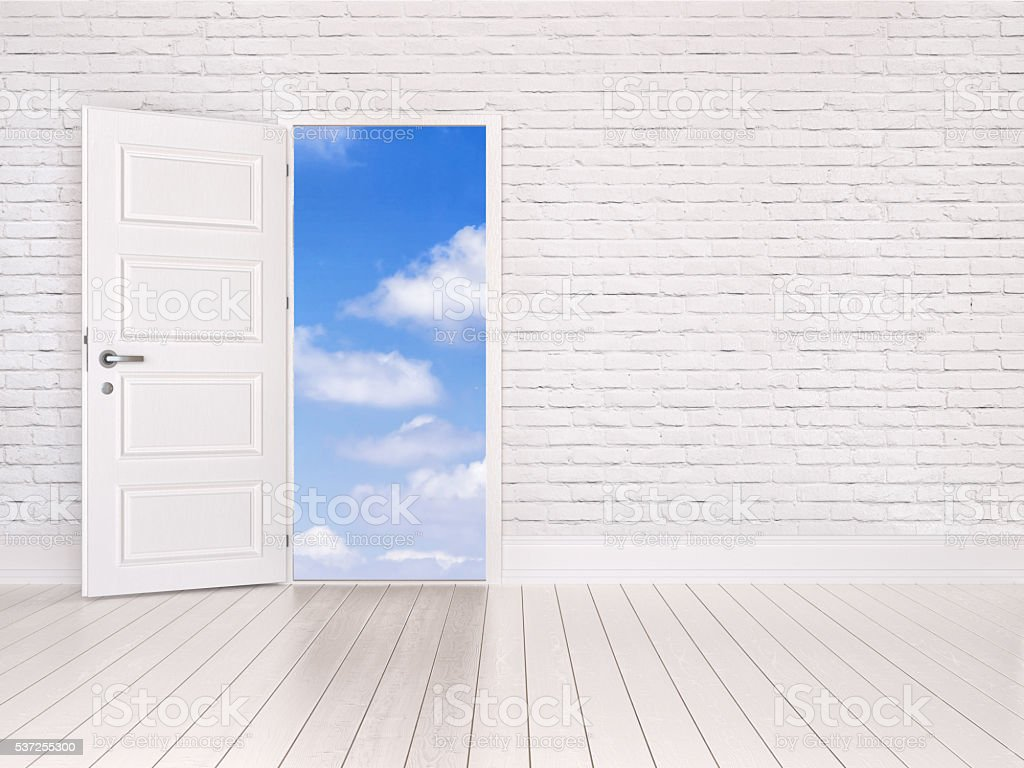 Open door to the sky stock photo