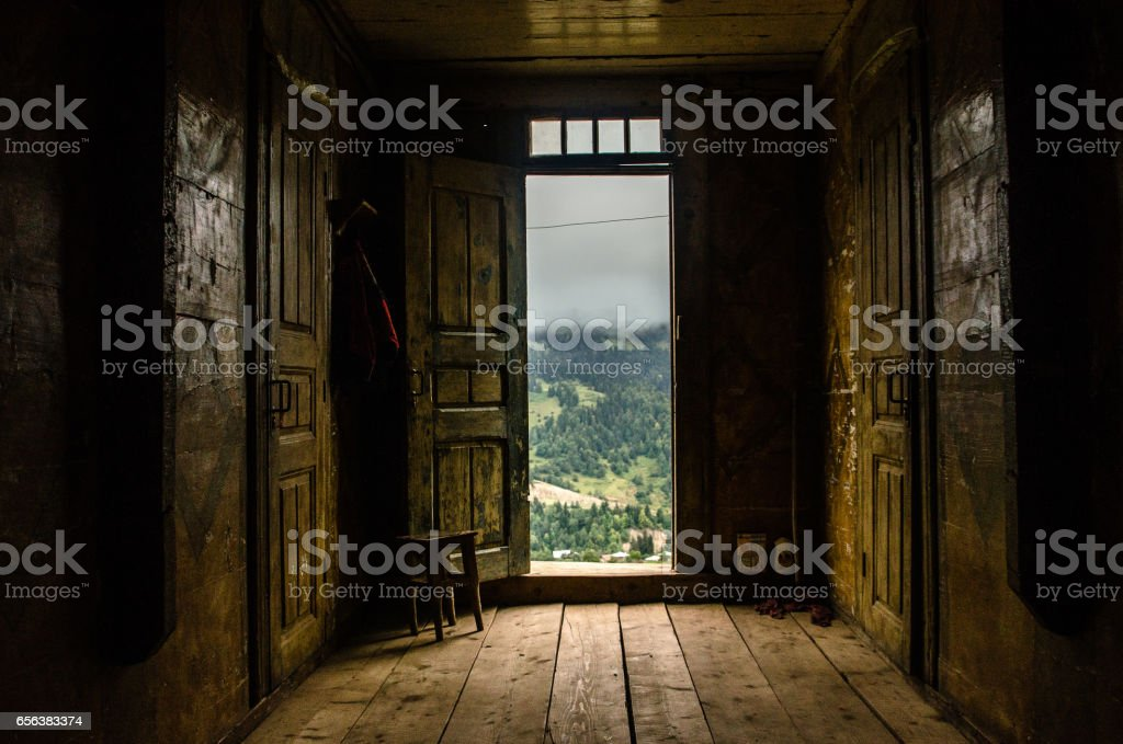 Open door to world. stock photo