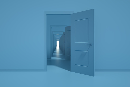 3d rendering of the open doors. Decisions and choices concept. Blue colors. Minimal design.