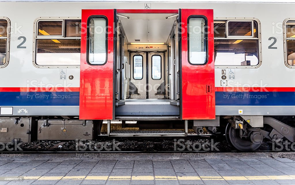 open doors from a train stock photo
