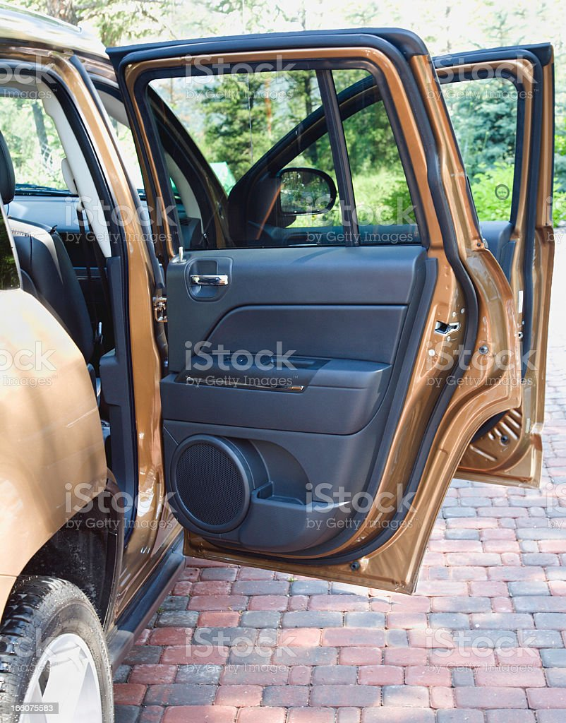 Open Doors Of New SUV 4 Wheel Drive stock photo