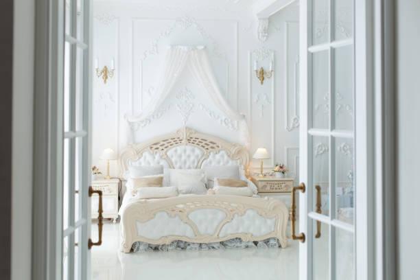 Open doors to the bedroom stock photo