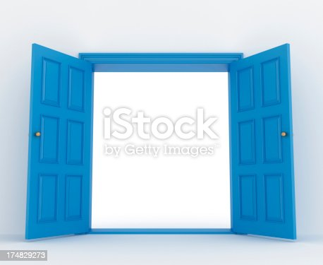 wide open blue double door