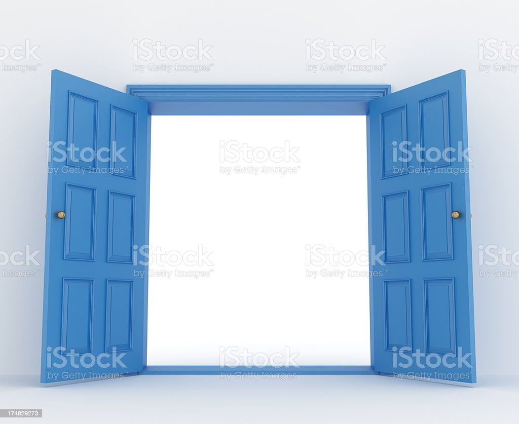 open double door stock photo