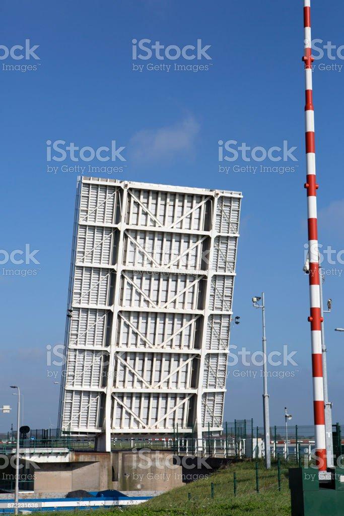 Open drawbridge at Eastern Scheldt, Oosterschelde stock photo