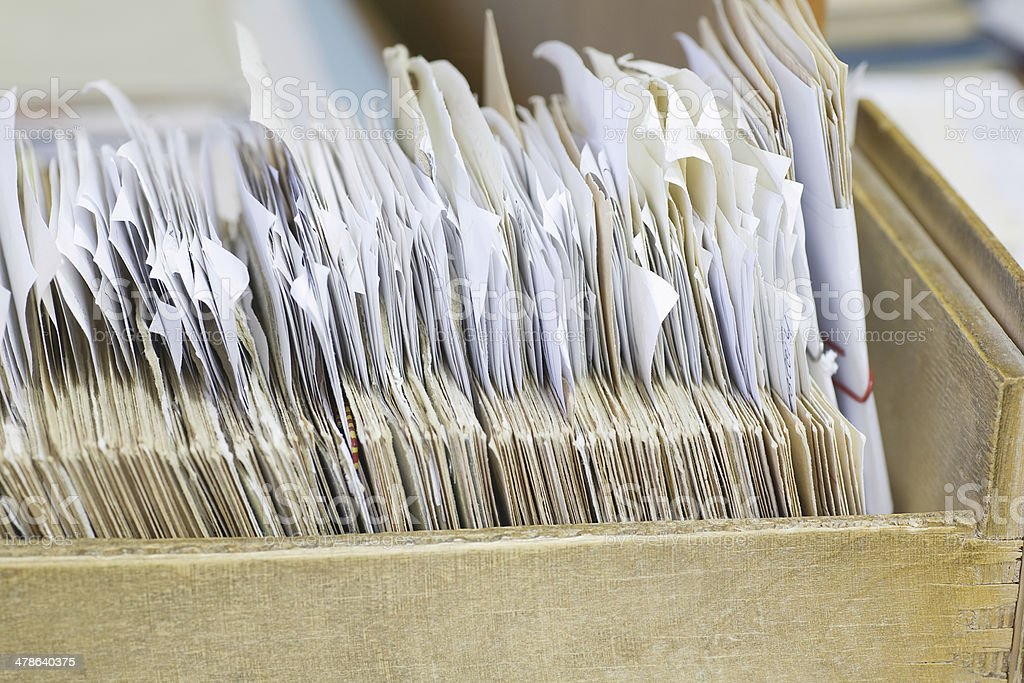 Open Drawer With Filing Records stock photo