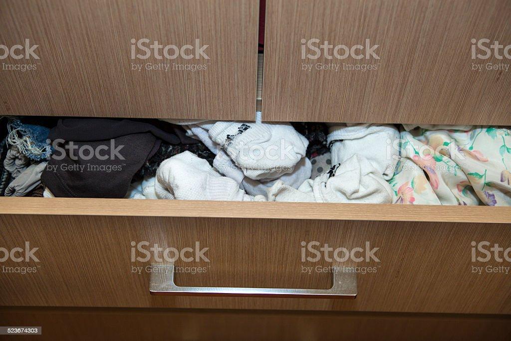 Open   dresser drawer stock photo