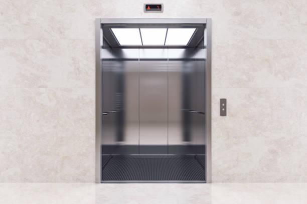 open elevator door - ascensore foto e immagini stock