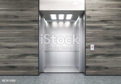 istock Open elevator in wooden wall 637614050